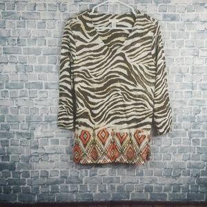 ♡6/$25♡Chicos animal print Medium top (1211)